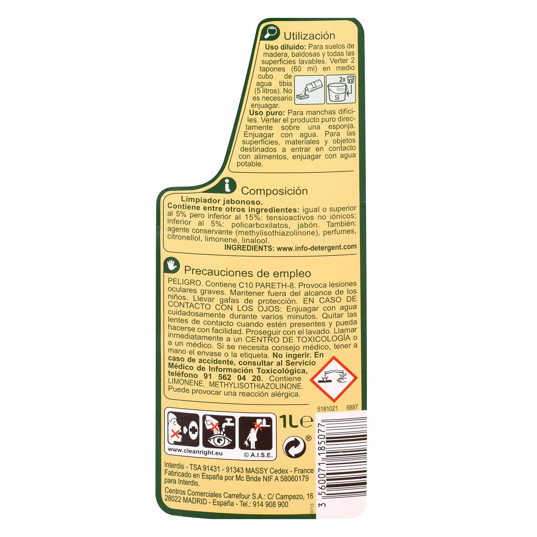 Limpiador jabonoso para madera Carrefour 1 l. -