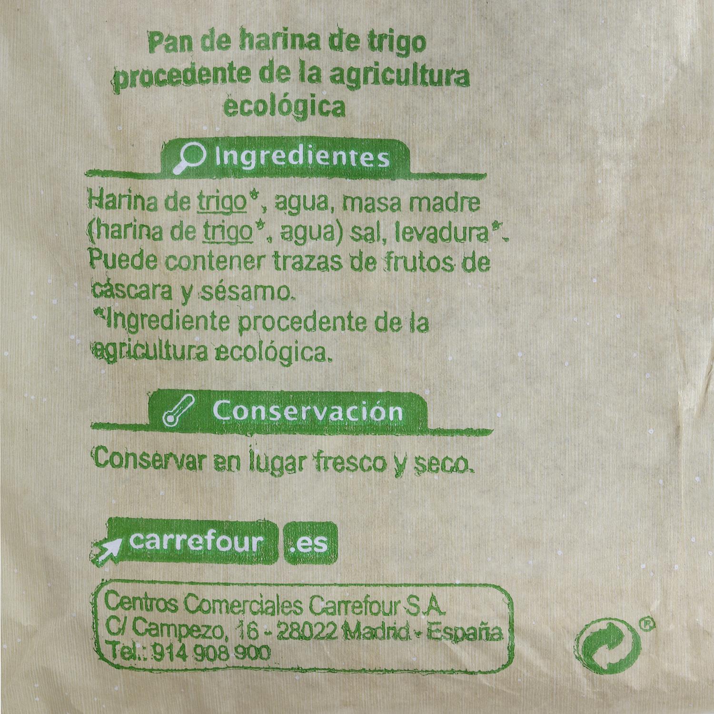 Hogaza de pan ecológica grande Carrefour Bio 800 g aprox -