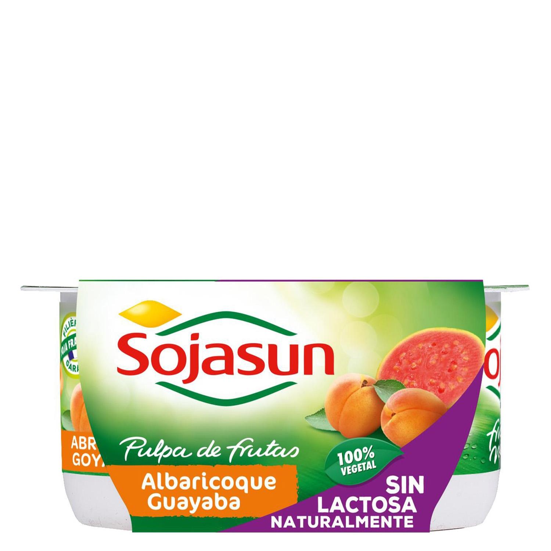 Preparado de soja con albaricoque y guayaba Sojasun sin lactosa pack de 4 unidades de 100 g. -