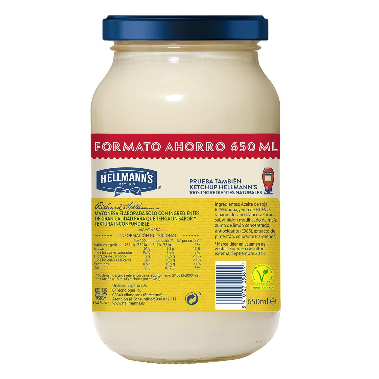 Mayonesa Hellmann's tarro 650 ml. -