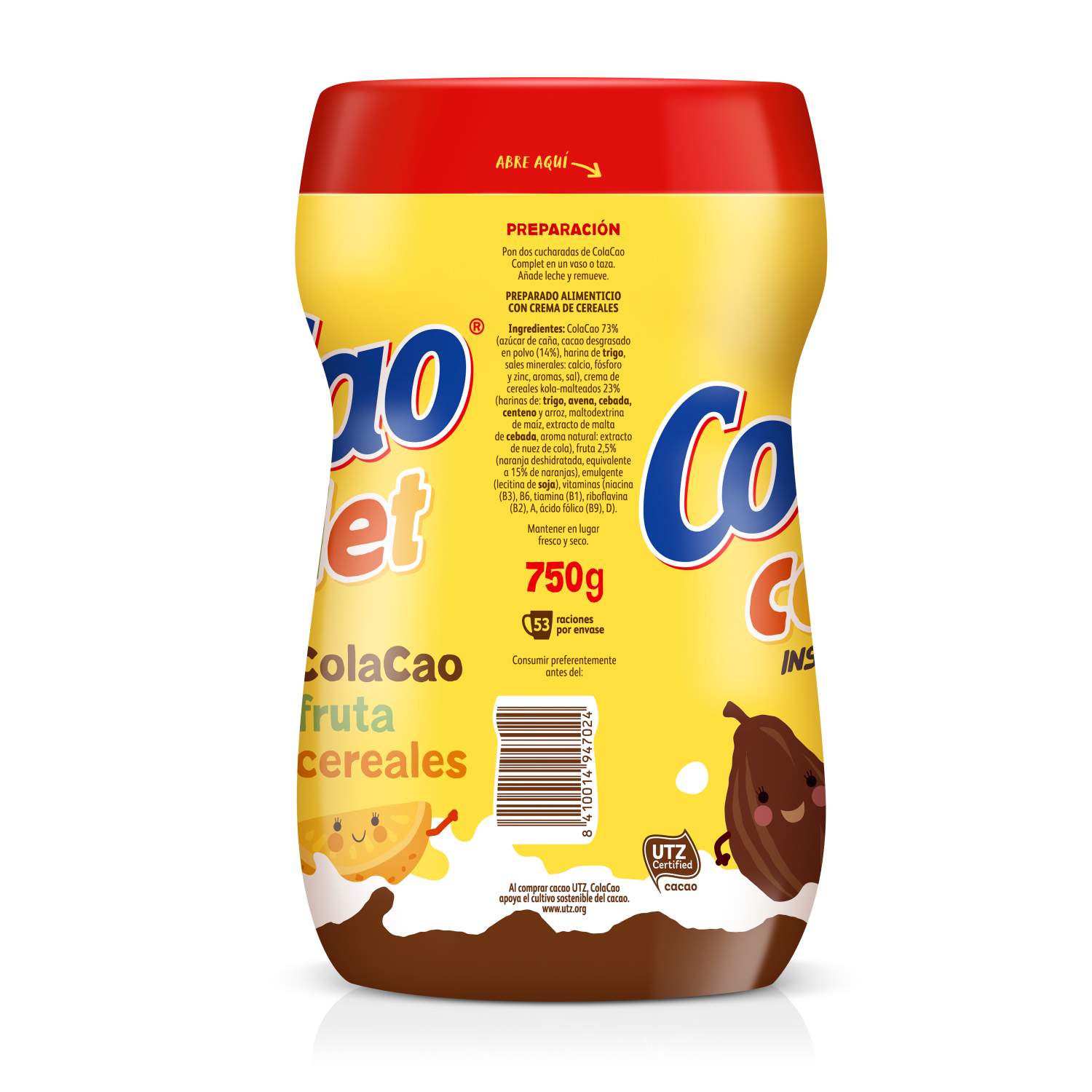 Cacao soluble instantáneo Cola Cao Complet 750 g. -