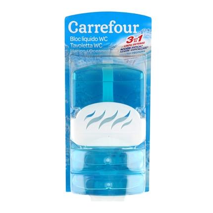Colgador WC líquido azul Carrefour pack de 3 unidades de 55 ml.