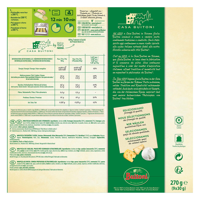 Piccolini 3 quesos Buitoni pack de 3 unidades de 90 g. - 2