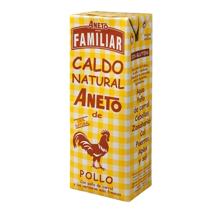 Caldo natural de pollo familiar Aneto sin gluten 1,5 l.