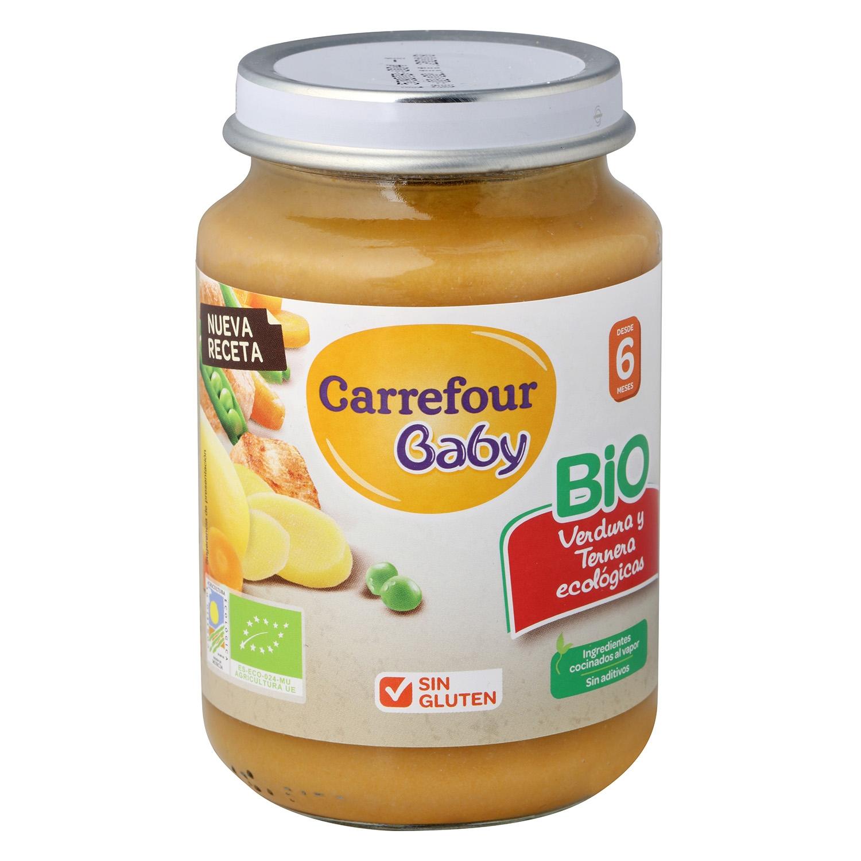 Tarrito de verduras y ternera ecológico Carrefour Baby 200 g.