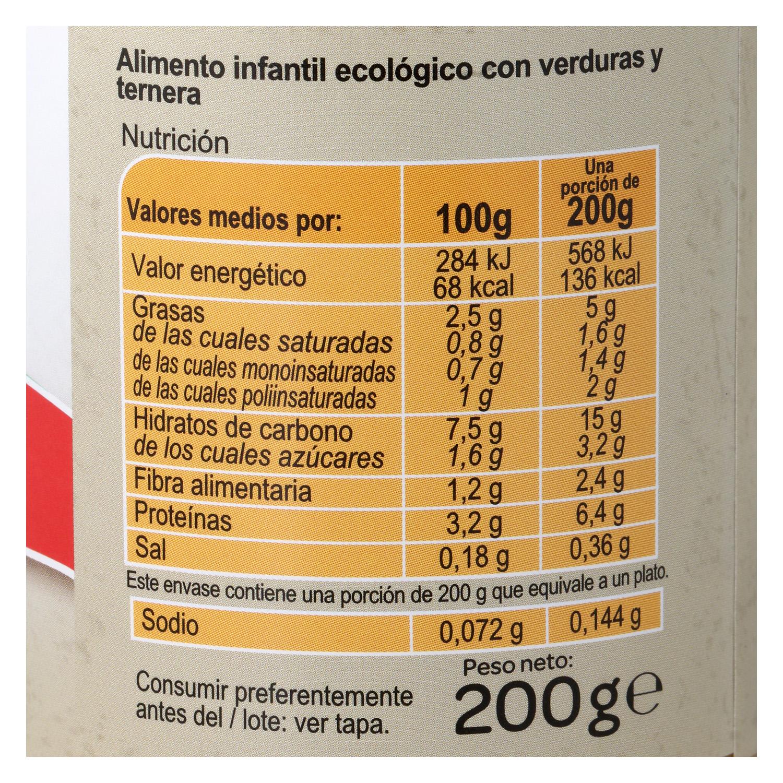 Tarrito de verduras y ternera ecológico Carrefour Baby 200 g. - 3