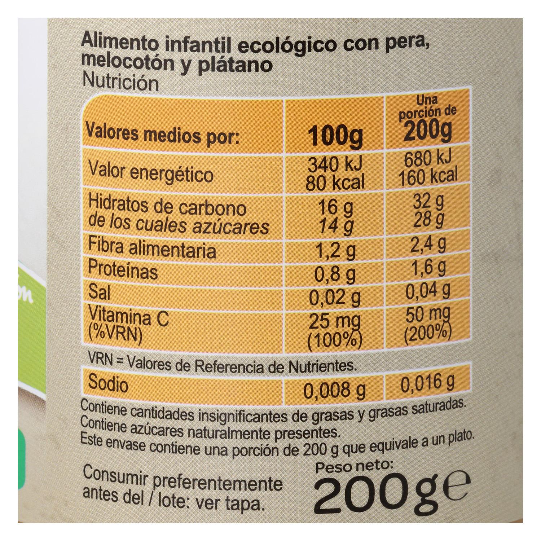 Tarrito de pera, melocotón y plátano ecológico Carrefour Baby 200 g. - 3
