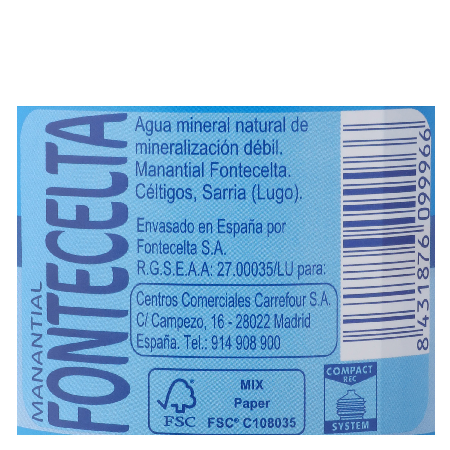 Agua mineral Carrefour natural 50 cl. -