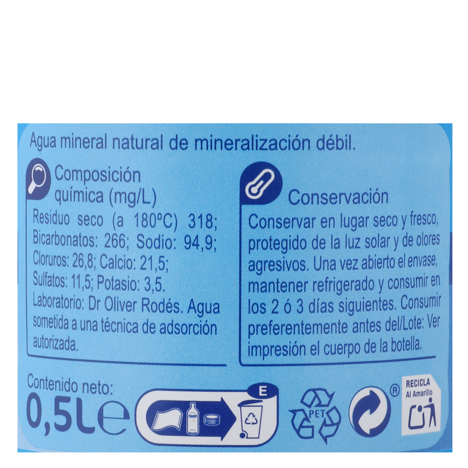 Agua mineral Carrefour natural 50 cl. - 2