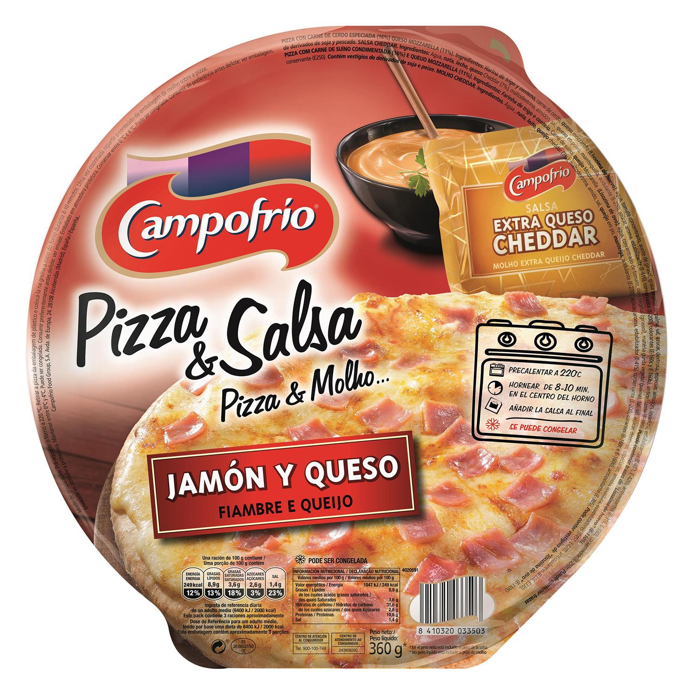 Pizza de jamón y queso con salsa bechamel Campofrío 360 g.