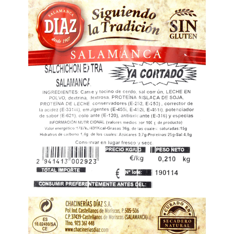 Salchichón curado Salamanca taco loncheado Embutidos Díaz 250 g aprox - 3