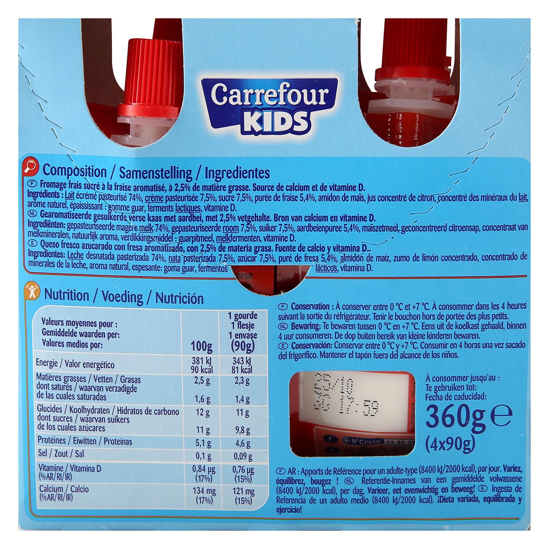 Petit de fresa Carrefour Kids en bolsitas pack de 4 unidades de 90 g. -