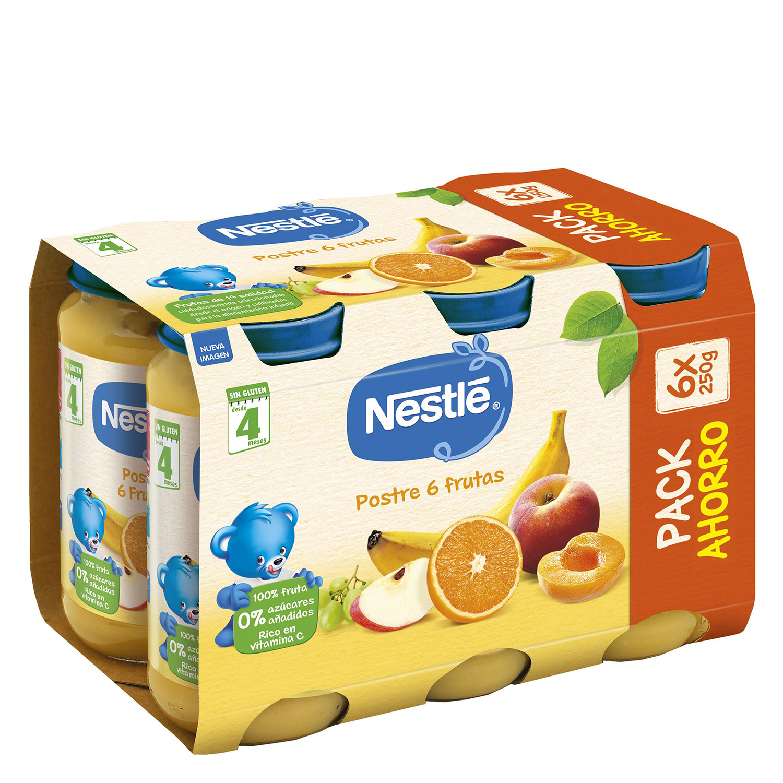 Tarrito de frutas variadas y Postre 6 frutas Nestlé pack de 6 unidades de 250 g.