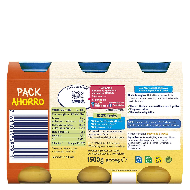 Tarrito de frutas variadas y Postre 6 frutas Nestlé pack de 6 unidades de 250 g. -