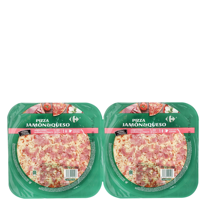 Pizza de jamón y queso Carrefour pack de 2 unidades de 225 g.