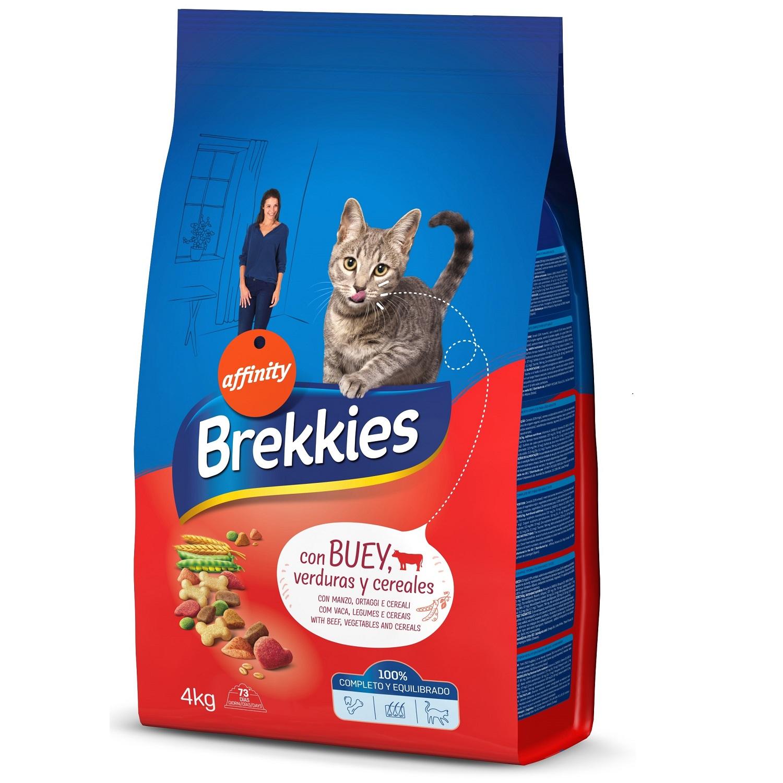 Brekkies Pienso para Gato  Adultos buey, ternera y verduras 4 kg -