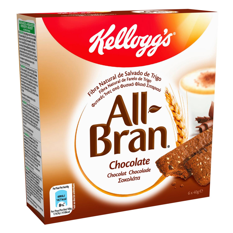 Barritas de trigo y fibra de avena enriquecida con salvado de trigo y trocitos de chocolate All Bran Kellogg's 6 unidades de 40 g.