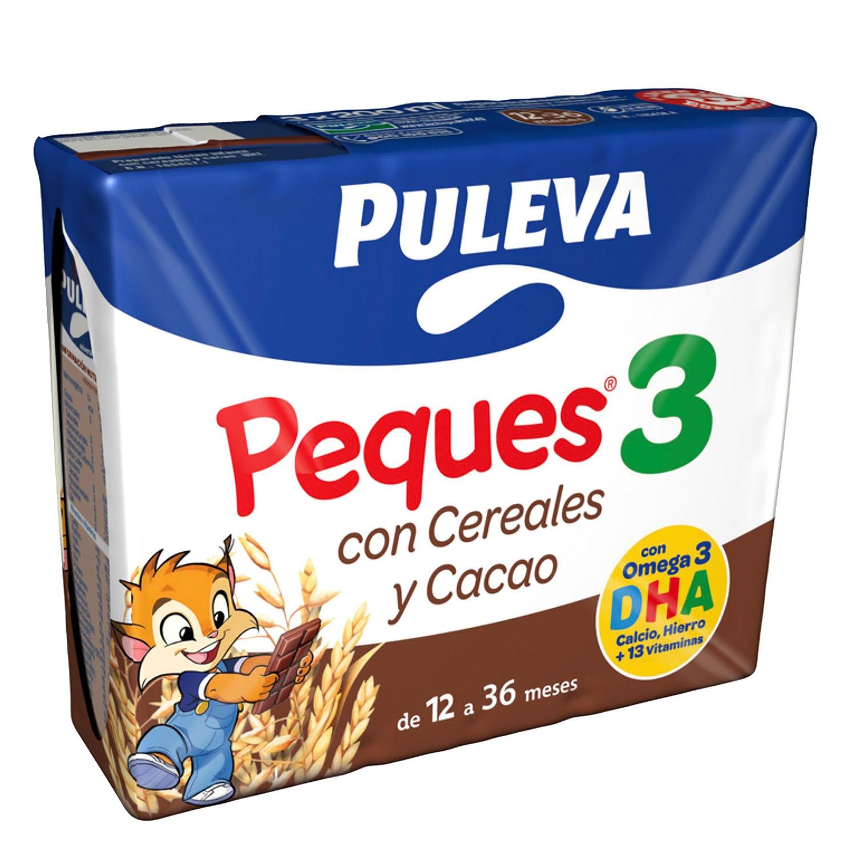 Leche 3 de crecimiento con cereales al cacao líquida Peques 3 Puleva pack de 3 briks de 200 ml.