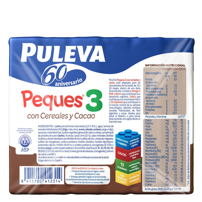 Leche 3 de crecimiento con cereales al cacao líquida Peques 3 Puleva pack de 3 briks de 200 ml. -