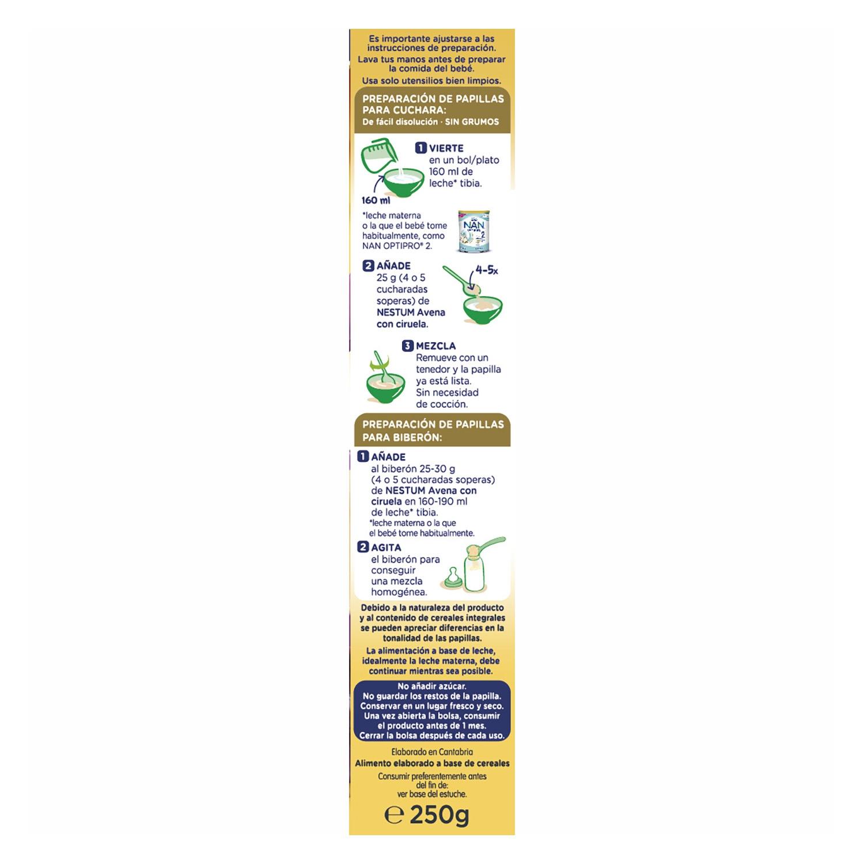 Papilla de avena con ciruelas Nestlé Nestum 250 g. -