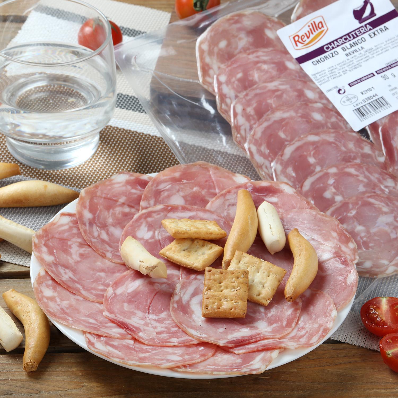 Chorizo blanco loncheado Revilla envase 100 g aprox -