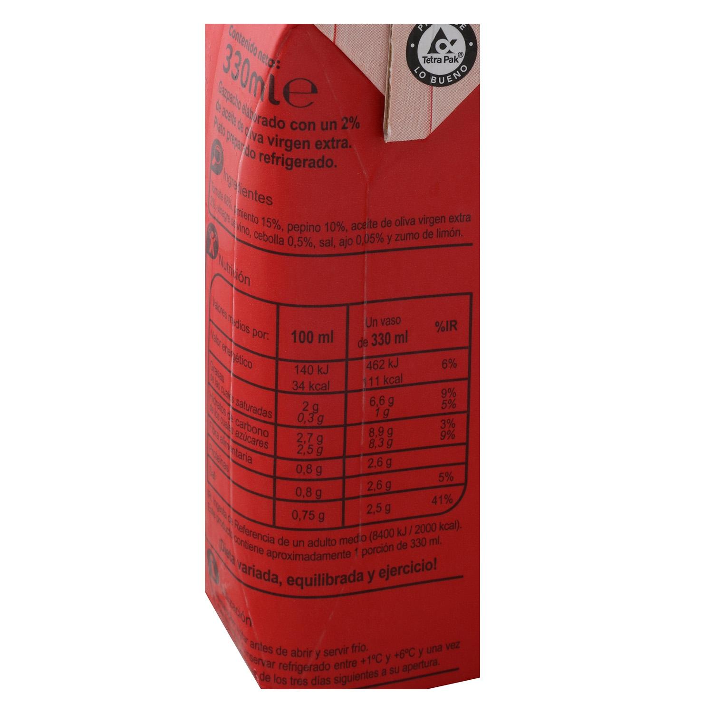 Gazpacho con aceite de oliva virgen extra Carrefour sin gluten pack de 3 unidades de 330 ml. -