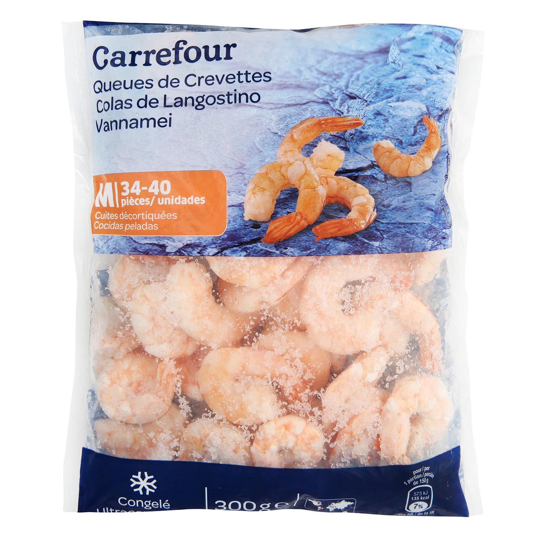 Colas de langostino cocidas Carrefour 300 g.