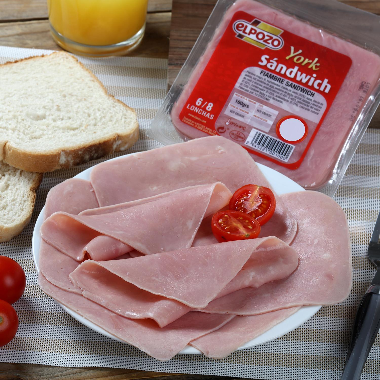 Fiambre de sandwich cocido loncheado El Pozo 160 g
