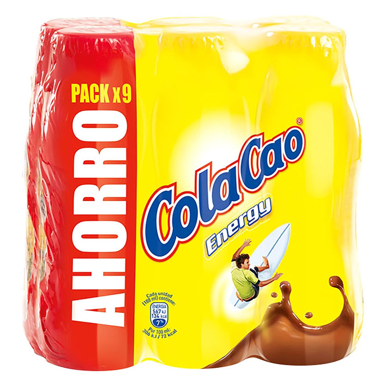 Batido de cacao Cola Cao pack de 9 botellas de 200 ml.