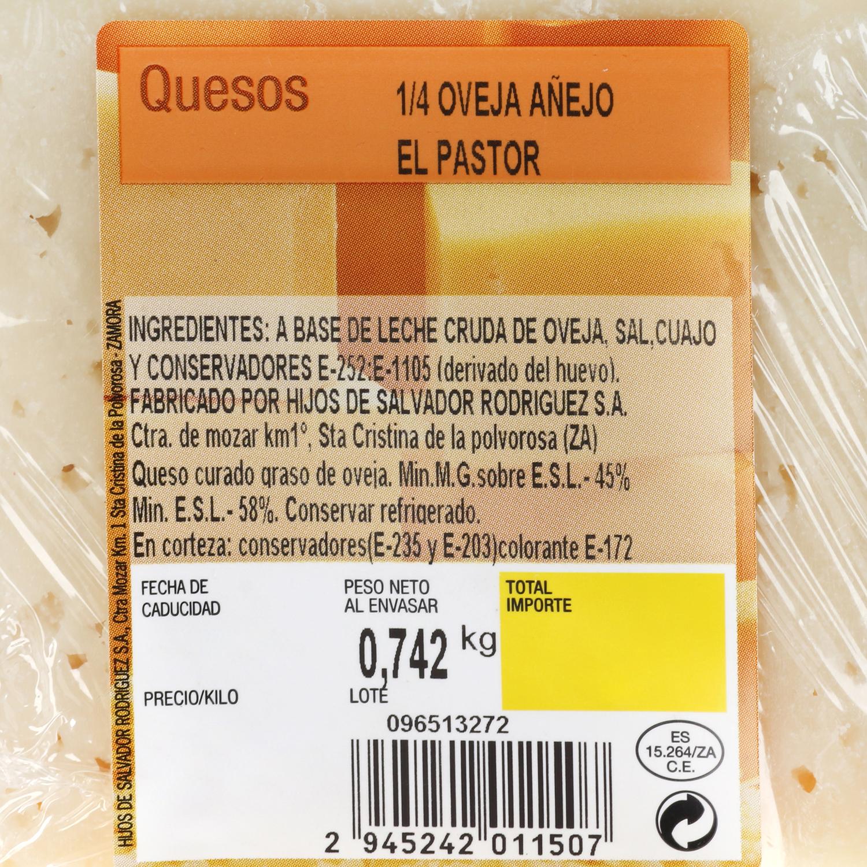 Queso puro de oveja añejo graso El Pastor de la Polvorosa cuña 1/4, 800 g aprox - 2