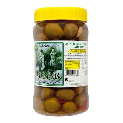Aceitunas verdes partidas Brefer 800 g.