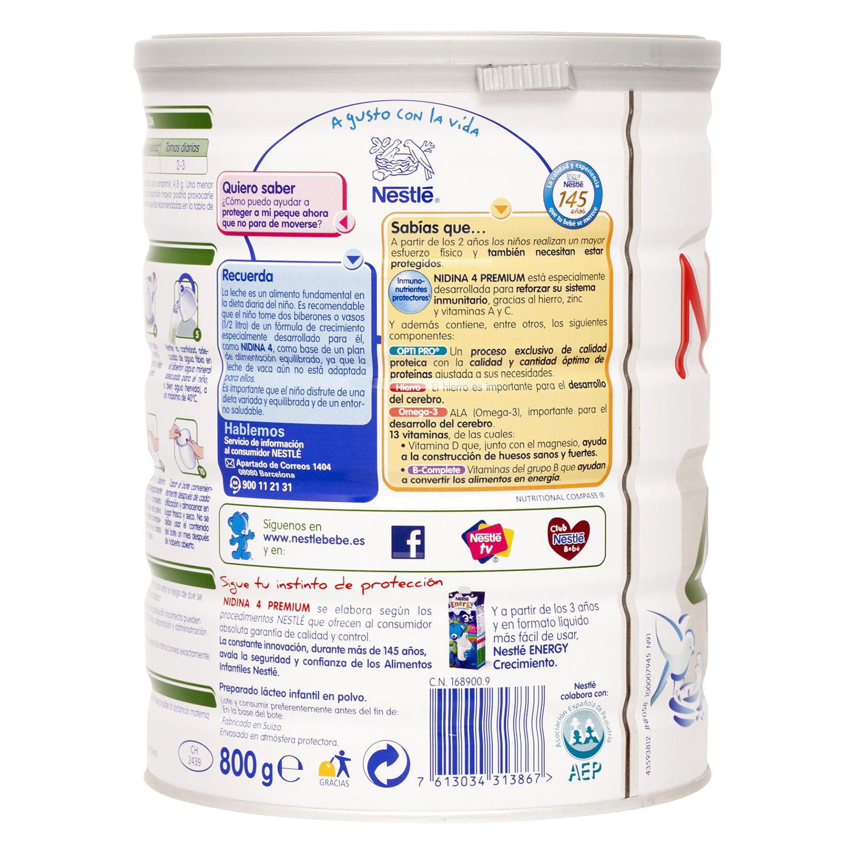 Leche 4 de crecimiento en polvo +24 meses Nestlé Nidina sin gluten 800 g. -