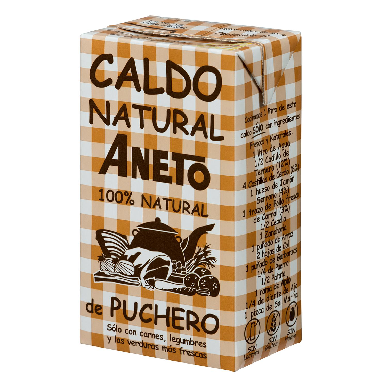 Caldo natural de puchero Aneto sin gluten y sin lactosa 1 l.
