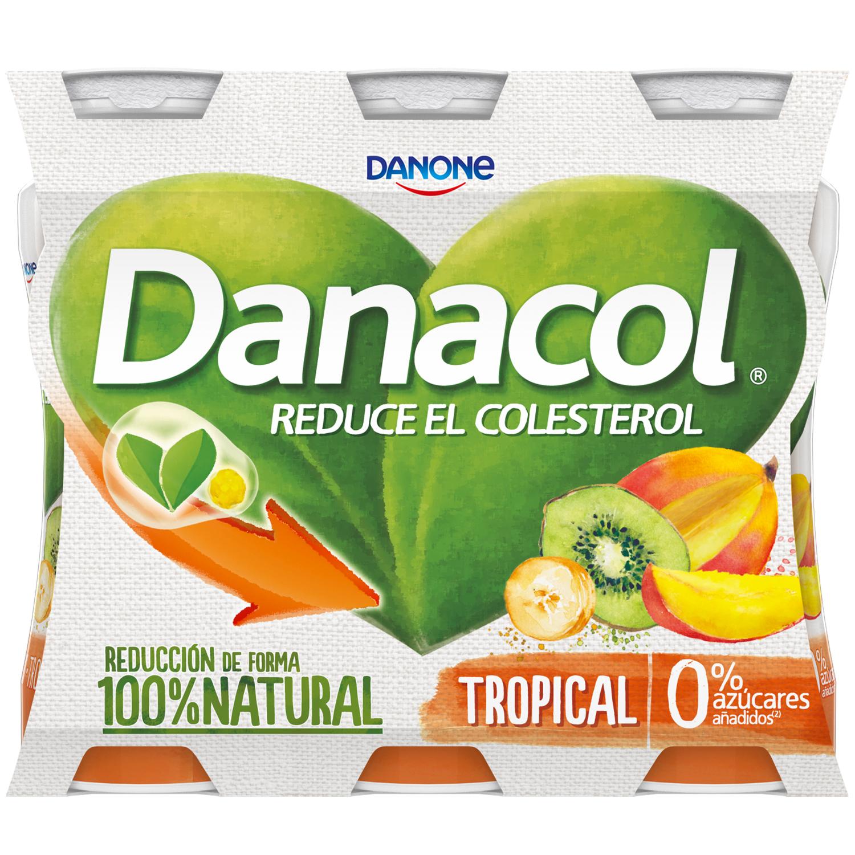 Yogur líquido tropical Danone Danacol pack de 6 unidades de 100 g. -