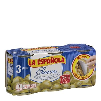 Aceitunas verdes La Española rellenas de anchoa pack de 3 latas de 50 g.