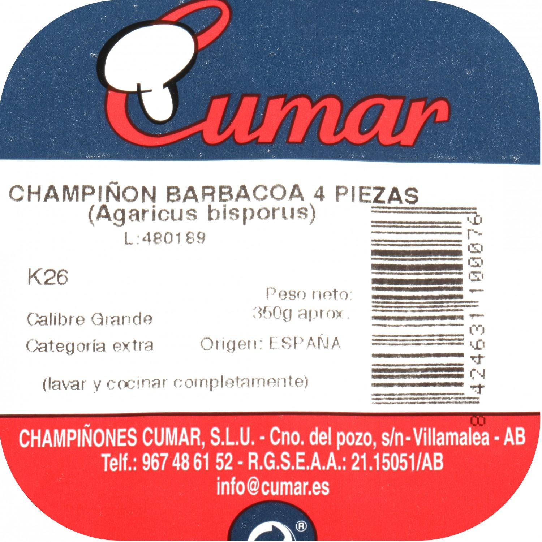 Champiñon barbacoa Carrefour bandeja 4/6 ud 200 g - 3