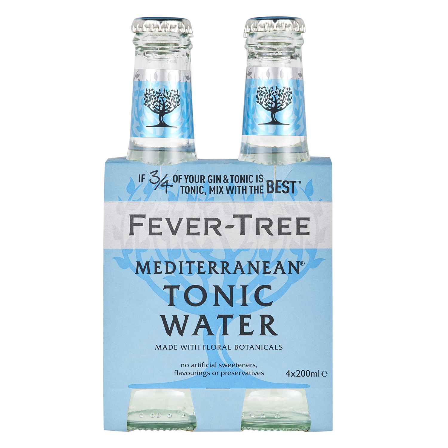 Tónica Fever Tree mediterranean pack de 4 botellas de 20 cl.