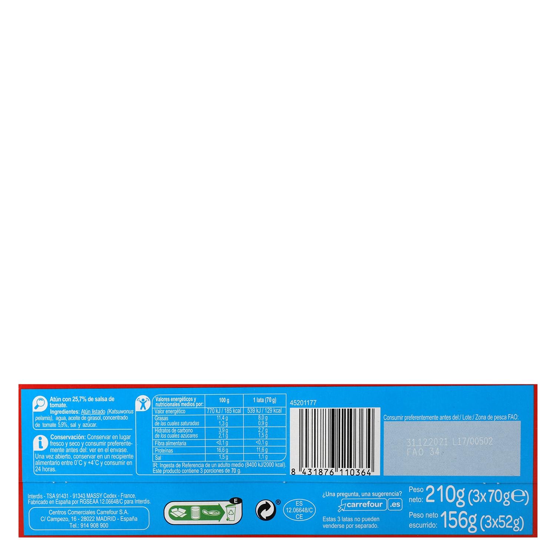 Atún en salsa de tomate Carrefour pack de 3 unidades de 52 g. - 2