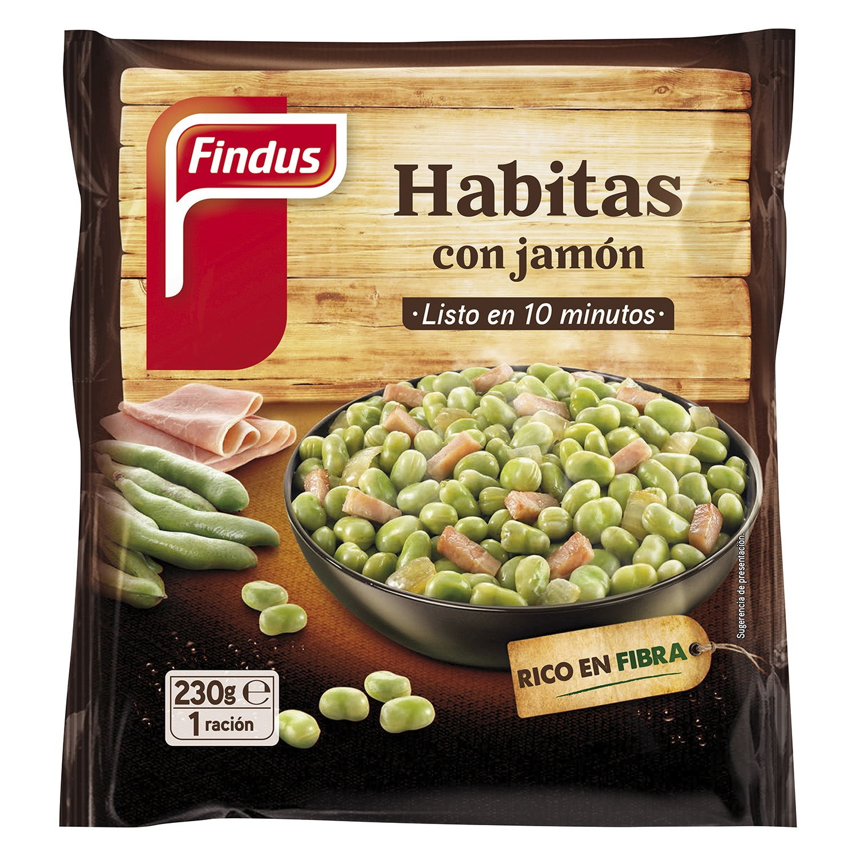 Habitas con jamón Findus-Verdeliss 230 g.