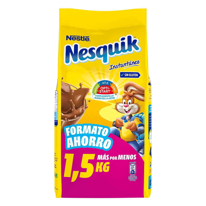 Cacao soluble insatntáneo Nestlé Nesquik sin gluten 1,5 kg.