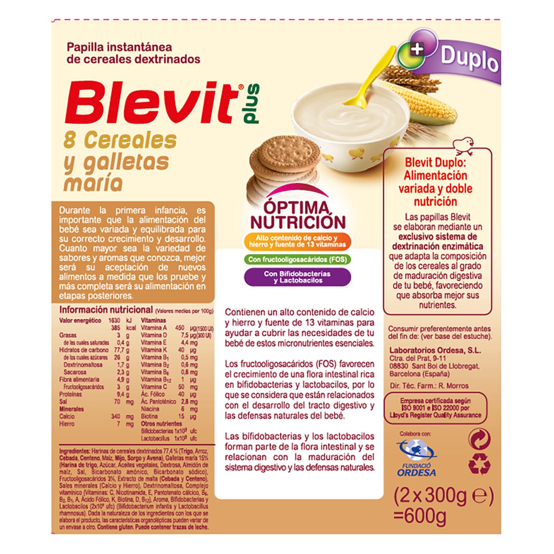 Papilla de 8 cereales y galletas María Blevit plus Duplo 600 g. -
