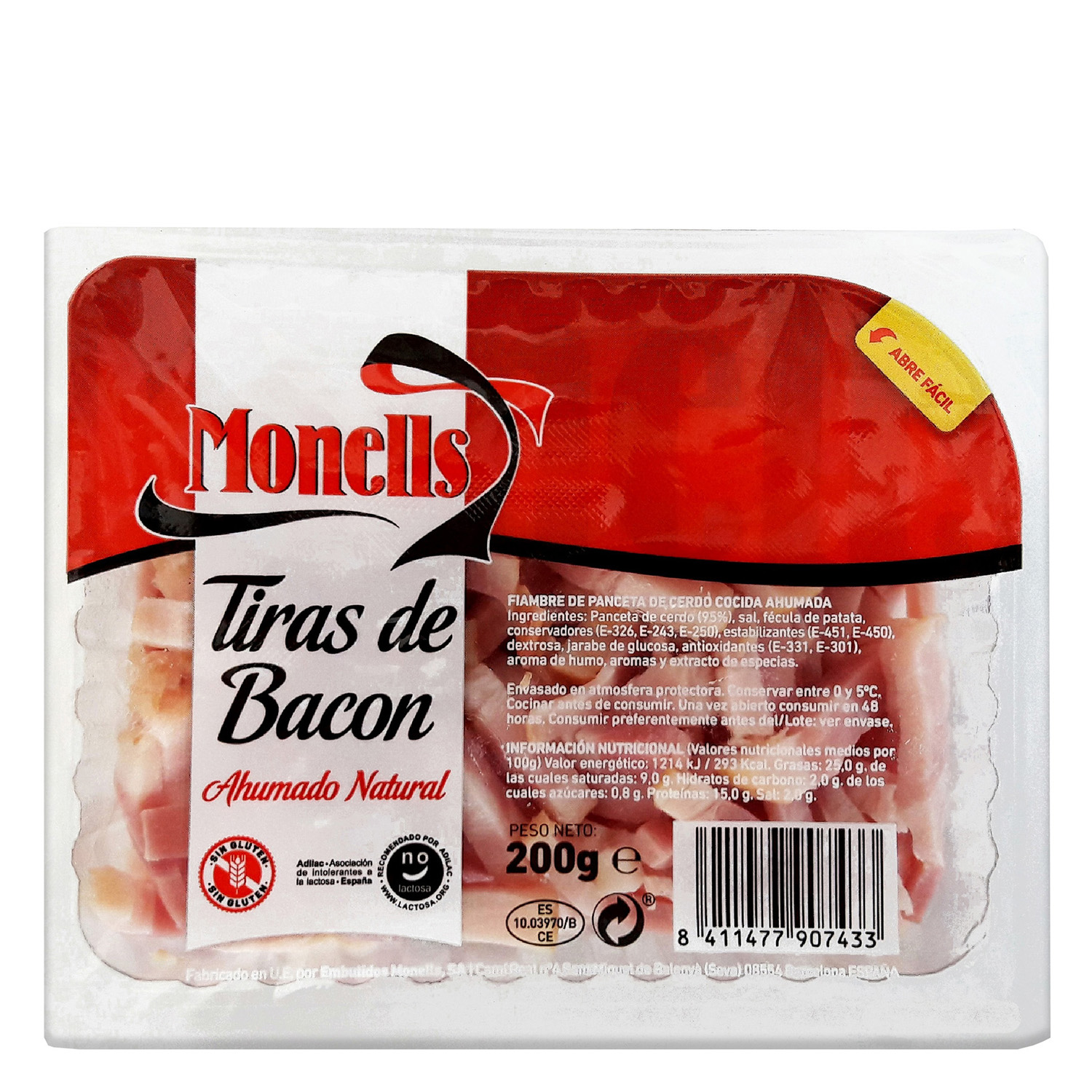 Tiras de bacon ahumado natural Monells 200 g.