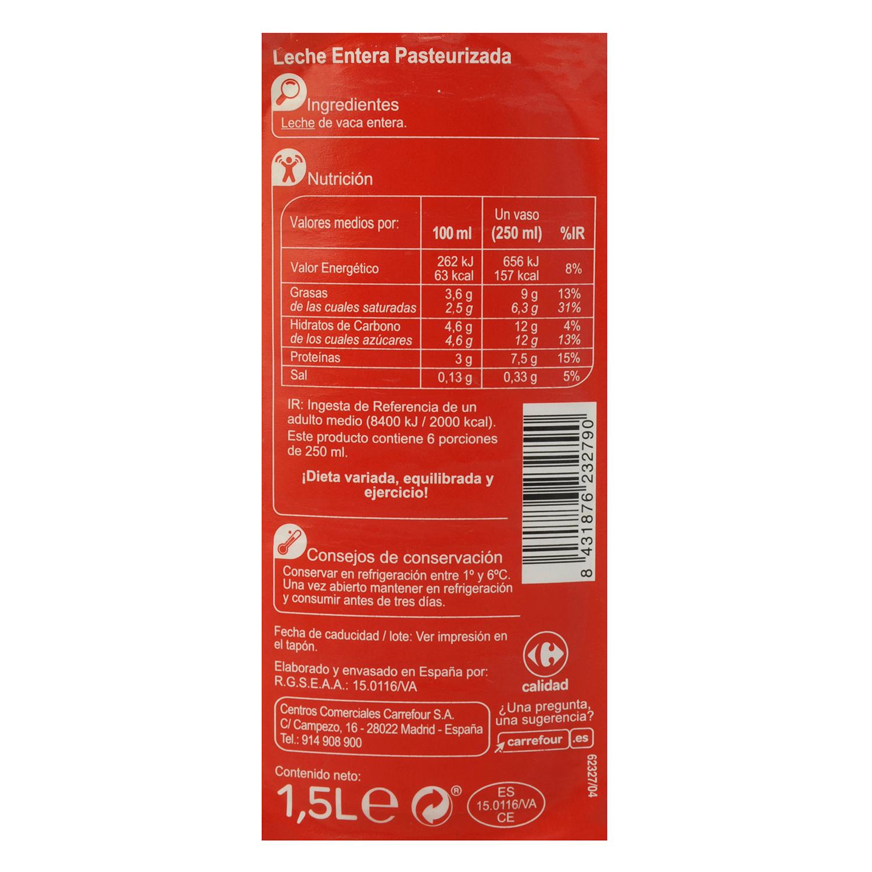 Leche entera fresca Carrefour botella 1,5 l. -