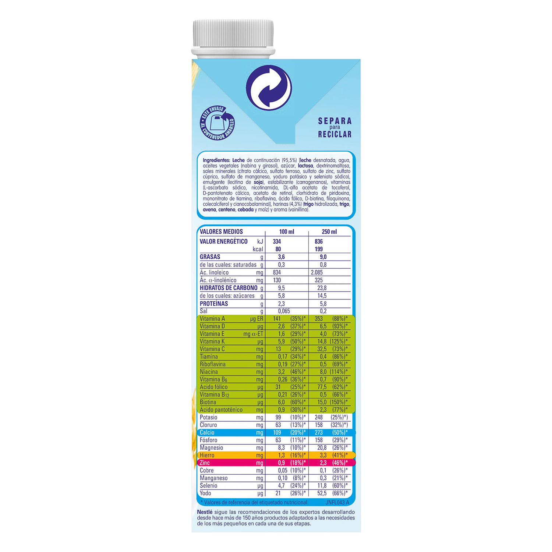 Leche de crecimiento con cereales líquida Nestlé Junior 1 l. - 2