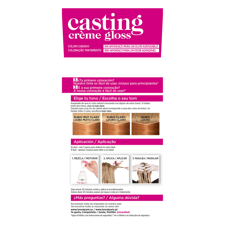 Tinte Créme Gloss nº 834 Rubio Ámbar L'Oréal Casting 1 ud. -