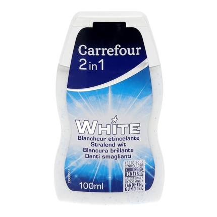 Dentífrico 2 en 1 blanqueante Carrefour 100 ml.