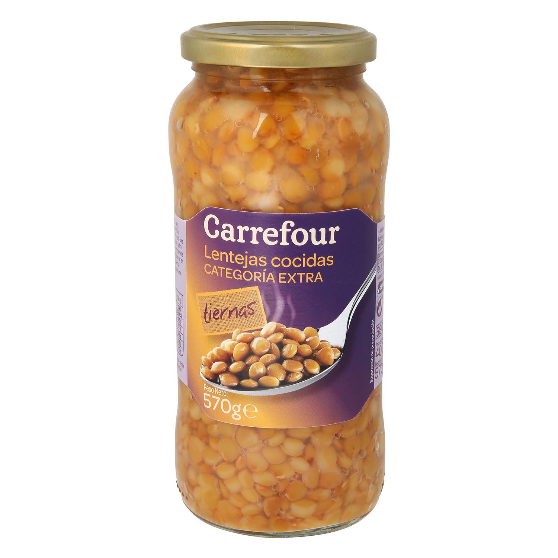 Lenteja cocida categoría extra Carrefour 400 g.