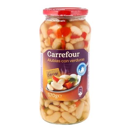 Combinado de alubias con zanahoria, pimiento rojo, pimiento verde y cebolleta Carrefour 400 g.