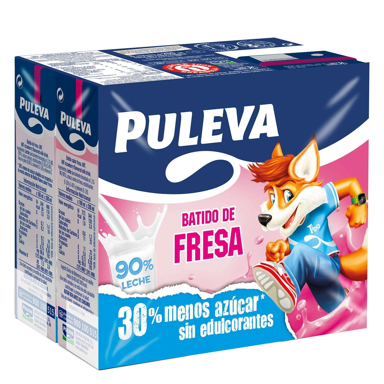 Batido de fresa Puleva pack de 6 briks de 200 ml.