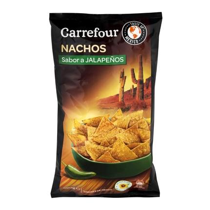 Nachos sabor jalapeños Carrefour 200 g.